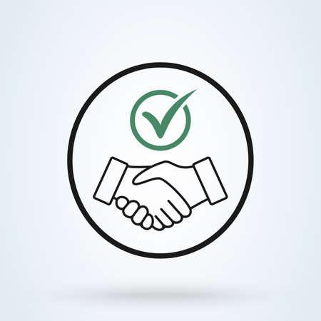 Commitment thin line icon. Handshake Shield Check Mark Icon Vector. Trust Commitment Business Illustration