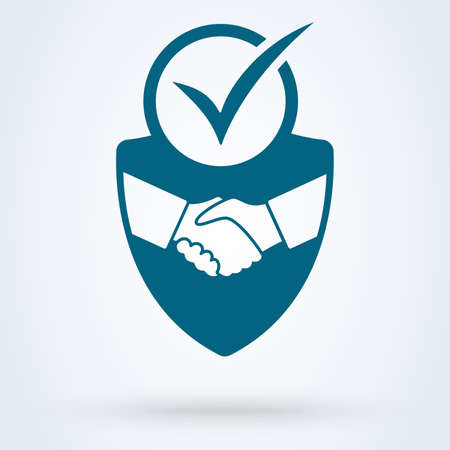 trust deal shield security icon vector illustration. Tick mark approved Commitment Business Ilustração