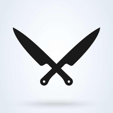 Icono de cuchillo en estilo plano aislado sobre fondo gris. Ilustración de vector. Ilustración de vector