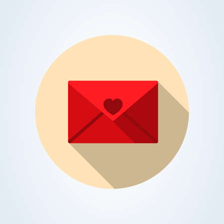 Mail icon. Envelope sign heart red. Vector Illustration. Transparent background.
