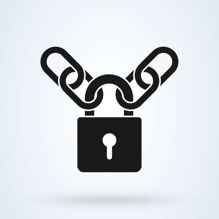 Padlock and metal chain icon concept of protection. Vector illustration. Ilustração