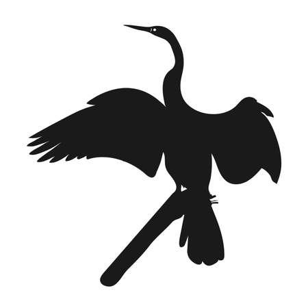 Silhouette icon crane. Vector illustration. crane bird silhouette Standard-Bild - 128746620