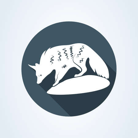 An Aardwolf in Southern Africa. Vector illustration of aardwolf  isolated on white background