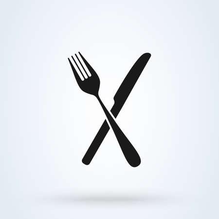 gekreuzte Gabel über Messer. Symbol isoliert auf weißem Hintergrund. Vektor-Illustration