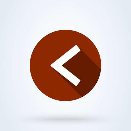 Left arrow flat style. icon isolated on white background. Vector illustration