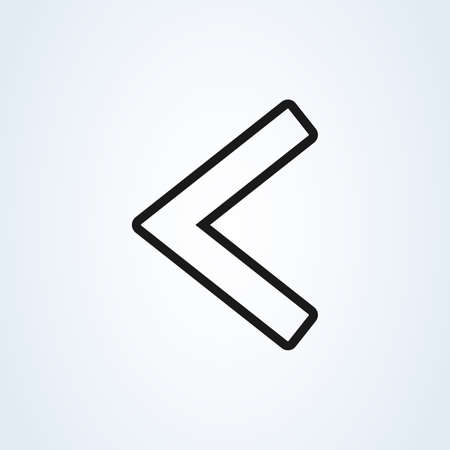 Left arrow flat style line art. icon isolated on white background. Vector illustration