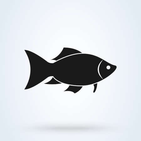 fish silhouette icon isolated on white background. Vector illustration Standard-Bild - 128746745
