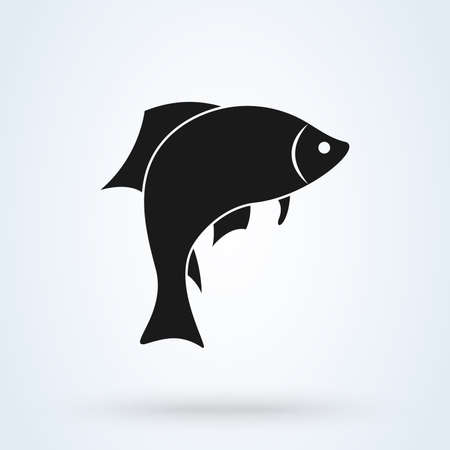 fish silhouette icon isolated on white background. Vector illustration Standard-Bild - 128746742