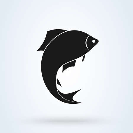 fish silhouette icon isolated on white background. Vector illustration Standard-Bild - 128746757