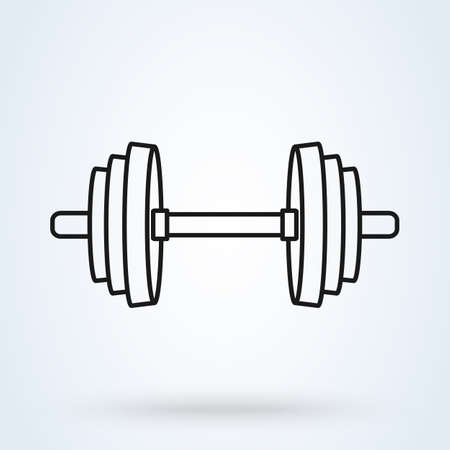 Barbell Simple line art vector modern icon design illustration.