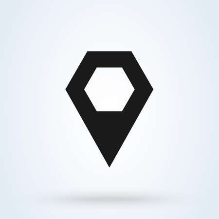 Honeycomb map pin Simple vector modern icon design illustration. Illustration