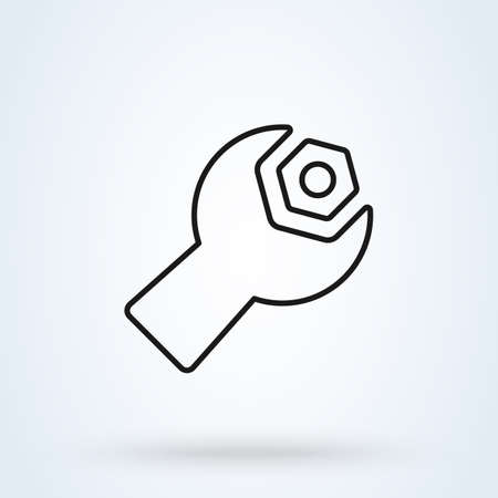 wrench screw. Line art Simple vector modern icon design illustration.
