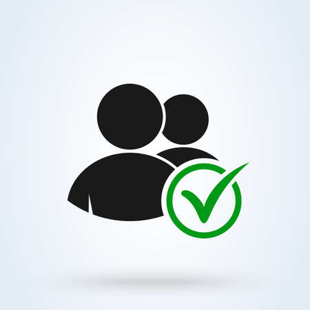 User, Group profile sign with check mark. Simple vector modern icon