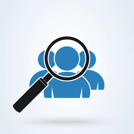 Magnifying glass for search a group. Simple vector modern icon design illustration.