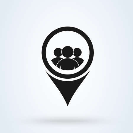 Map Location User and Group. Simple vector modern icon design illustration.