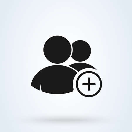 Add and Plus Group. Simple vector modern icon design illustration. Vektoros illusztráció