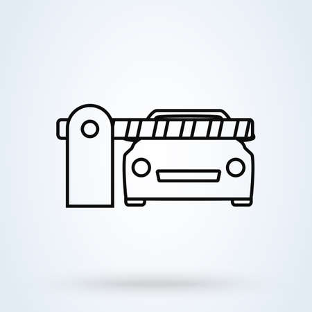 Car Security Barrier Gate. outline Simple vector modern icon design illustration.