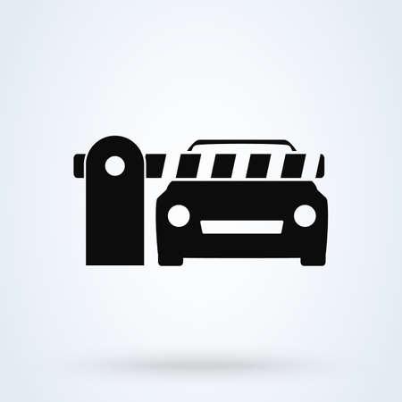 Car Security Barrier Gate. Simple vector modern icon design illustration.