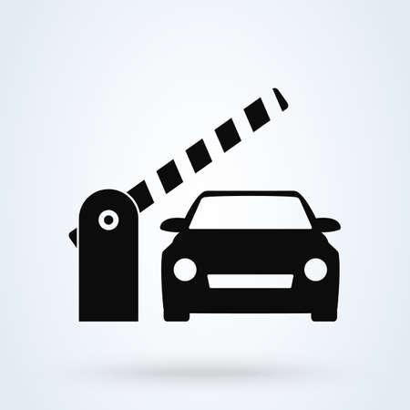 Auto-Sicherheits-Barriere-Tor. Einfache Vektor-moderne Icon-Design-Illustration.
