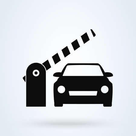 Car Security Barrier Gate. Simple vector modern icon design illustration.