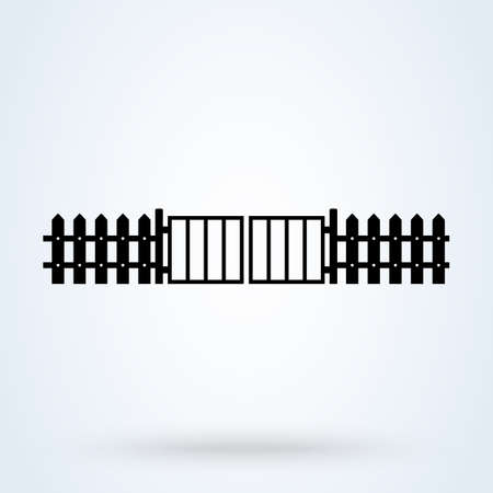 fence with gate. Simple vector modern icon design illustration.