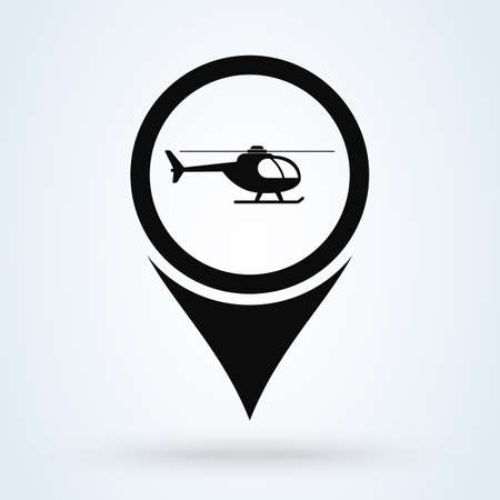 location pointer helicopter. Simple vector modern icon design illustration.