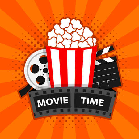 Movie time. Cinema poster concept vector illustration. Composition with popcorn, clapperboard. banner design for movie theater. 일러스트