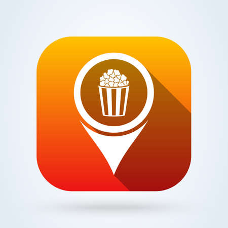 Popcorn locations. Simple vector modern icon design illustration. 일러스트