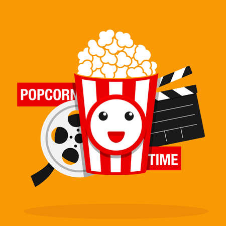 Movie, Popcorn time vector illustration. Cinema poster concept