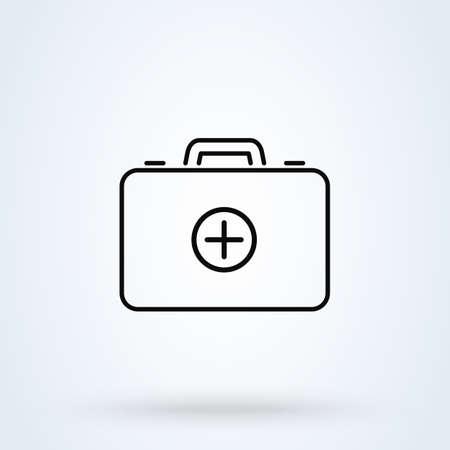Medical First Aid Kit. line art Simple vector modern icon design illustration.