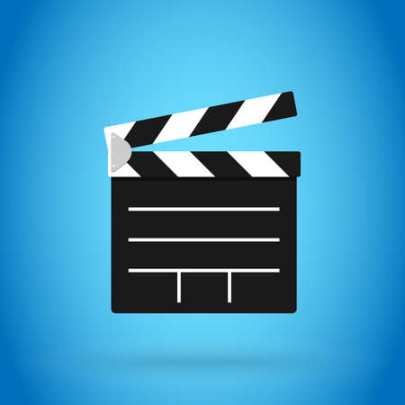 Clapperboard vector illustration isolated on blue color background