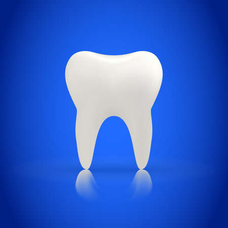 Tooth on a blue background. vector illustration of a white