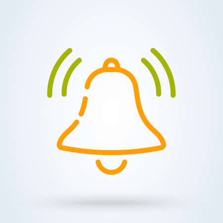 Message and chat notification bell outline vector icon Ilustração