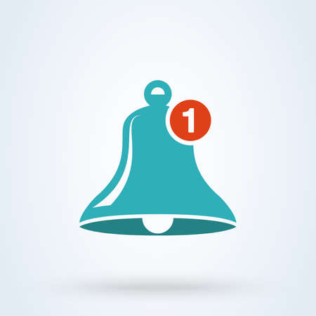 Message notification bell icon flat. vector sign illustrator