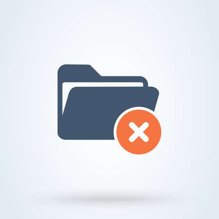 No folder and Forbidden file Simple vector modern icon design illustration. Çizim