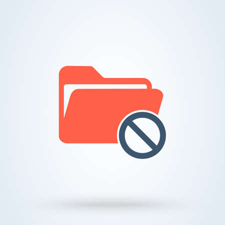 No folder and Forbidden file Simple vector modern icon design illustration. Stok Fotoğraf - 131785247