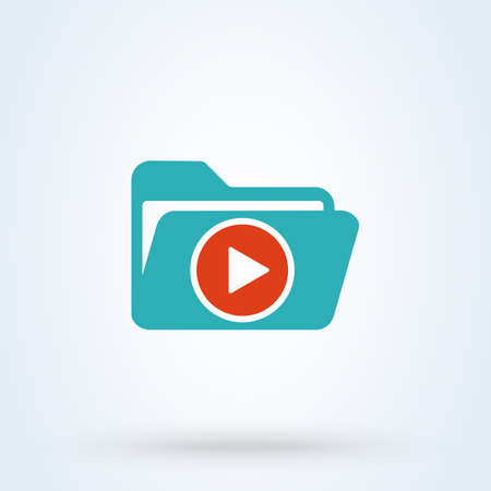 folder play Simple vector modern icon design illustration. Stok Fotoğraf - 131784948
