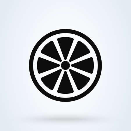 Fresh slice lemon fruits. Simple vector modern icon design illustration.