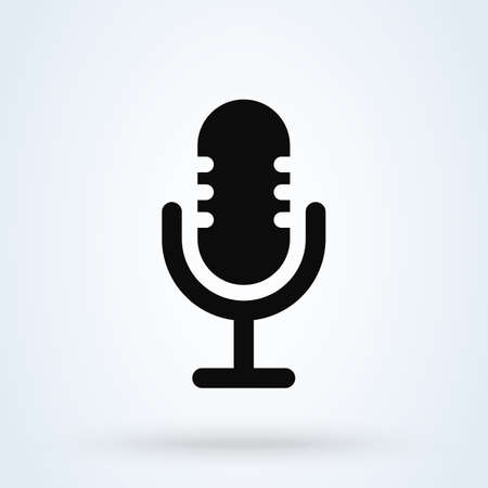 microphone record, Simple vector modern icon design illustration.
