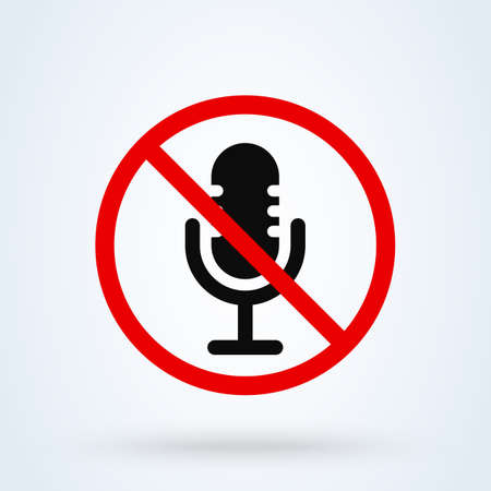 microphone no Simple vector modern icon design illustration. Illusztráció