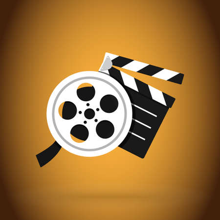 cinema clapper and video film tape. Simple vector modern design illustration.