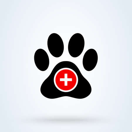 paw, animal help. Simple vector modern icon design illustration.