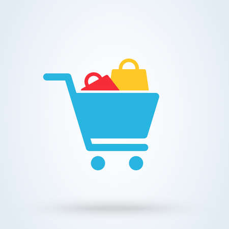shopping cart and bags. Simple vector modern icon design illustration.