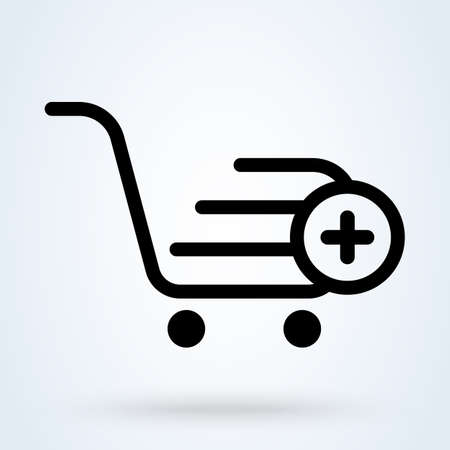 add, pıus shopping cart. Simple vector modern icon design illustration.