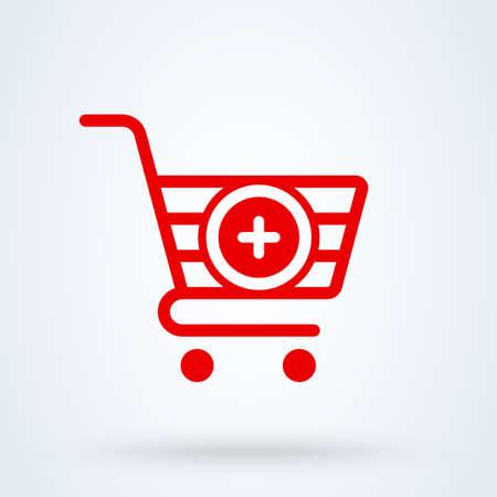 add, pıus shopping cart. Simple vector modern icon design illustration.