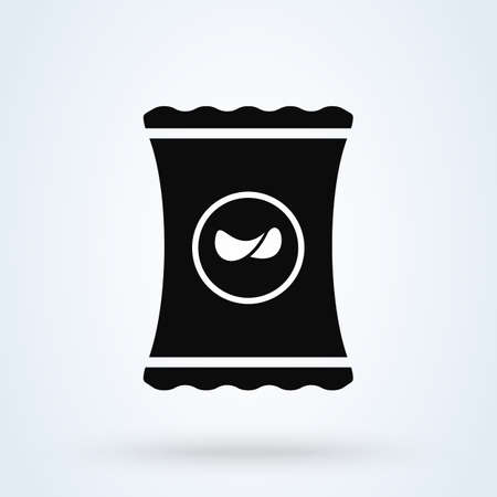 packet potato chips Simple vector modern icon design illustration 일러스트