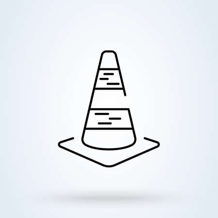 road traffic cone. Outline Simple vector modern icon design illustration.