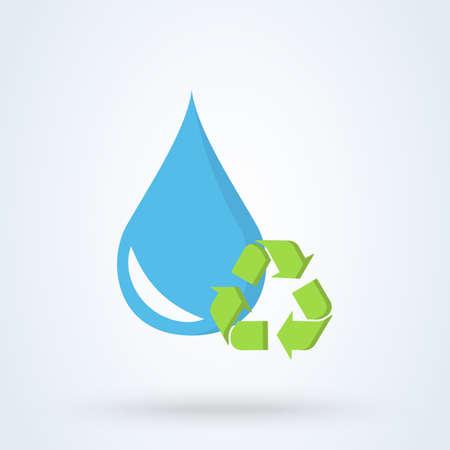 Recycle waterdruppel en behoud. vector platte blauwe ontwerp illustratie.