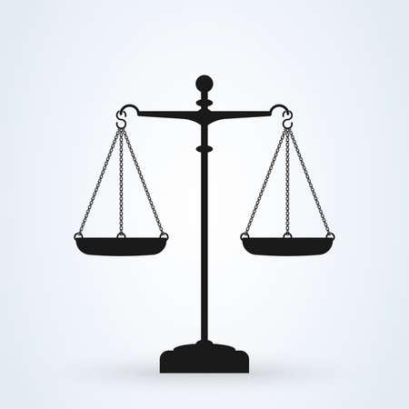 Vector icono de escalas, aislado en fundamento blanco. Escalas de justicia