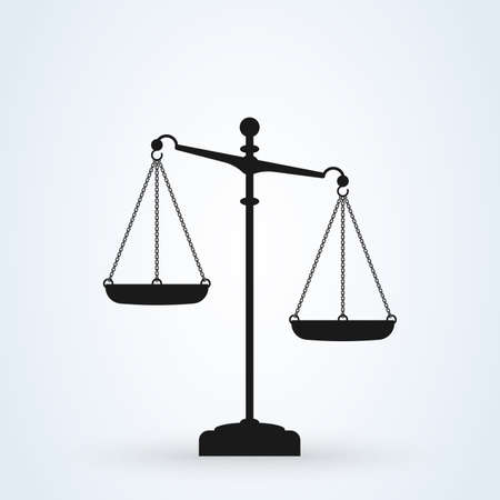 Vector scales Icon, isolated on white bacground. Scales of Justice Ilustrace